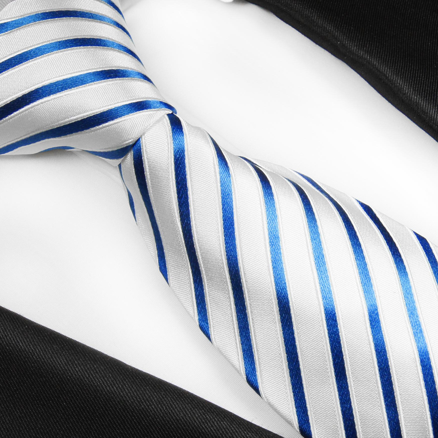 Normall/änge, Extralang oder schmal Paul Malone Krawatte wei/ß silber gestreifte Seidenkrawatte