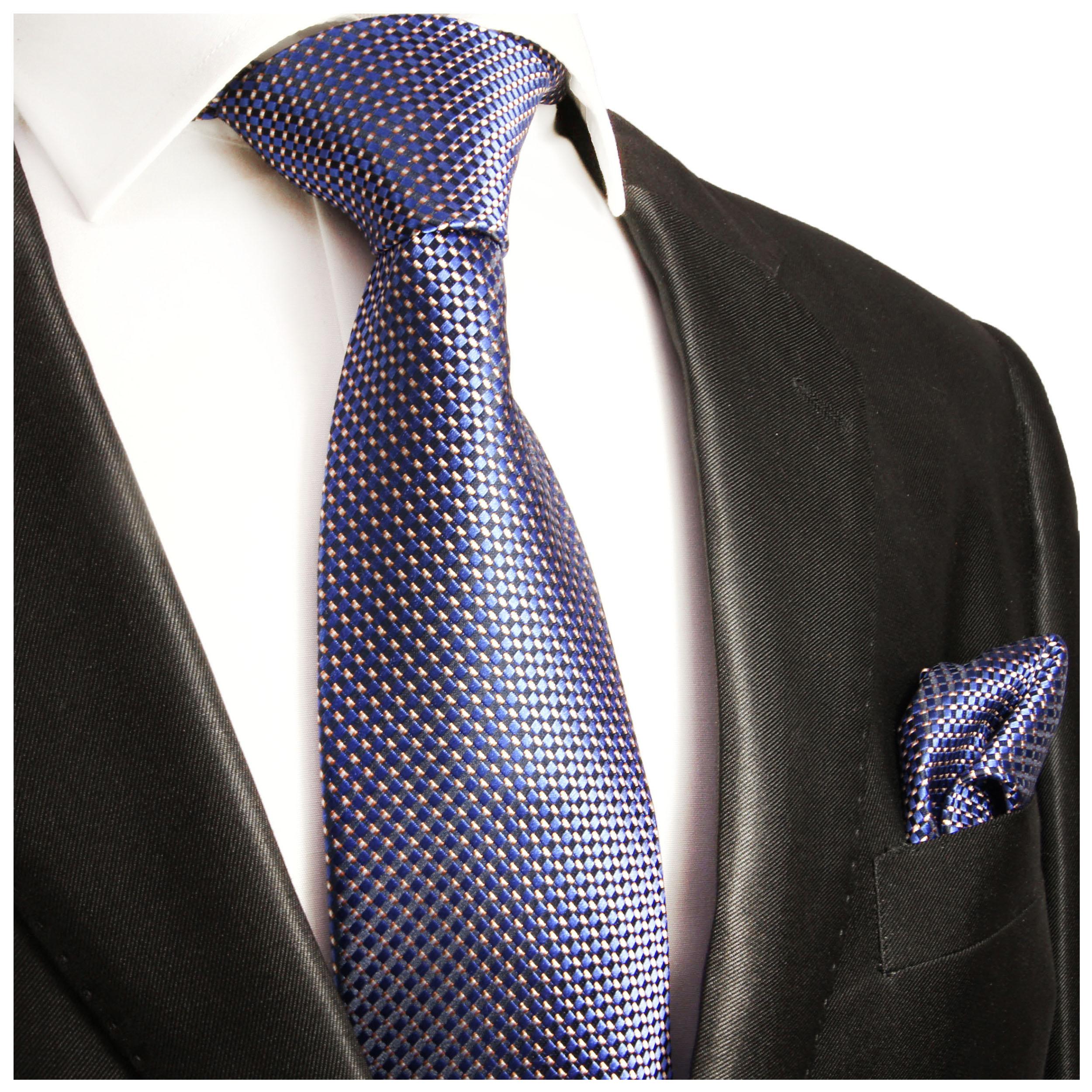 Krawatten Set 2tlg Blau Gepunktete Seidenkrawatte